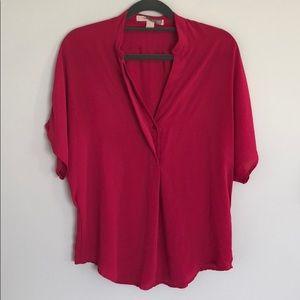 Hot pink flowy short sleeve top